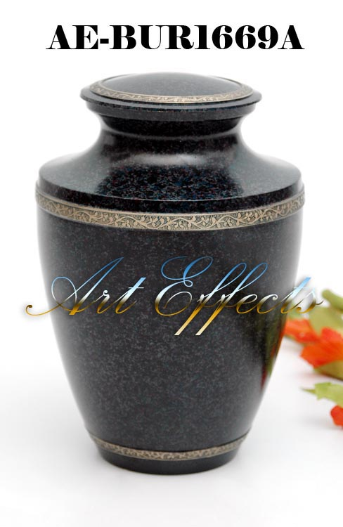 Majestic Black Stone Finish Brass Cremation Urn